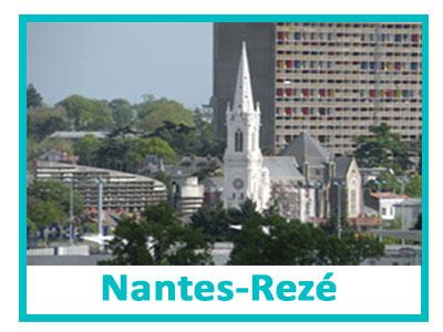Bouton d'accès à la laverie de Nantes représentant la commune de Rezé